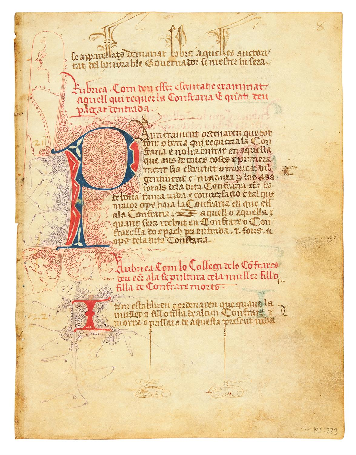 Lot 59 - Ɵ Confraternity of the Archangel Michael, in Spanish, manuscript on parchment [Valencia, c.1400]