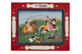 Two soldiers on horseback in battle [North India (Kangra), mid-nineteenth century]