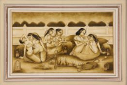 A Harem Scene, painting on paper [India (Kishangarh), first half of nineteenth century]