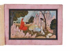 Layla visiting Majnun in the wilderness, Pahari school [Northern India, c. 1820]
