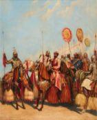 """George Landseer, """"Rewah Horsemen"""", oil painting on canvas [India (Madhya Pradesh), c. 1860]"""
