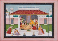 Ladies attending a Princess, Pahari school [Northern India (Himachal Pradesh), c. 1880]