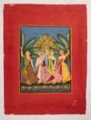 The Dancing Gopis, Indian miniature on card, Mewar school [India (Rajasthan), c. 1830]