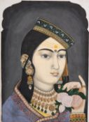 Bhae Puran Singh as a young Sikh Lady, painting on card [India (probably Punjab), c. 1890]