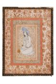 Portrait of a seated youth, illuminated drawing on paper [Safavid Persia, mid-seventeenth century]