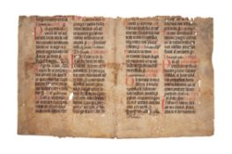 Collection of leaves from medieval manuscripts, in Latin, on parchment