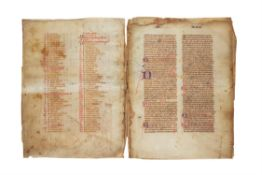 Johannes de Freiburg, leaves from an extremely large codex of Summa confessorum, in Latin,
