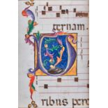 Large initial enclosing foliage and large gold bezants, on a cutting from an illuminated choirbook,