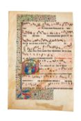 The Nativity in a historiated initial, on a leaf from a manuscript Gradual,