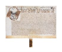 "Letters Patent granted by Oliver Cromwell as ""Lord Protector of the Comonwealth of England"