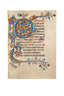 Leaf from a finely illuminated Book of Hours, in Latin, manuscript on parchment