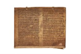 Ɵ Single leaf from a monumental Biblical codex, with Revelation 18-19, in Latin, manuscript