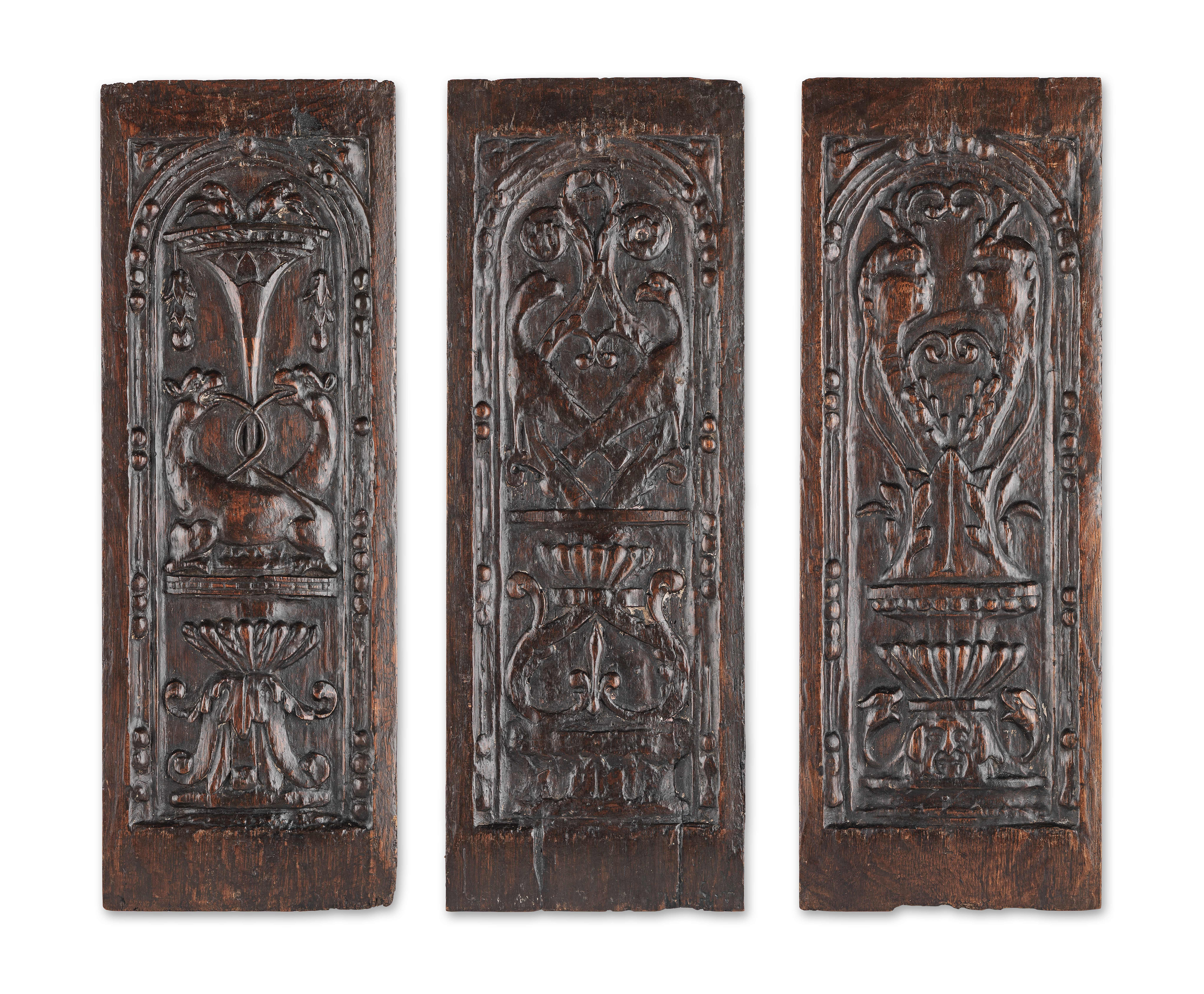 Lot 222 - Three mid-16th century carved oak panels, French, circa 1540 (3)