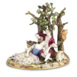 A Meissen figure group of lovers Late 19th century