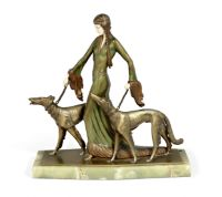 Professor Otto Poertzel (German, 1876-1963) 'The Aristocrats': An Art Deco Cold-Painted and Carve...  Professor Otto Poertzel (German, 1876-1963) 'The Aristocrats': An Art Deco Cold-Painted and Carved Ivory Figural Group, circa 1925 modelled as young woman with plaited hair, wearing a long medievalist dress, and walking two borzoi; the figure raised on a green onyx plinth 40cm high, signed 'PROF.POERTZEL' in the cast Footnotes: Literature:  Variant of model illustrated in Statuettes of the Art d...