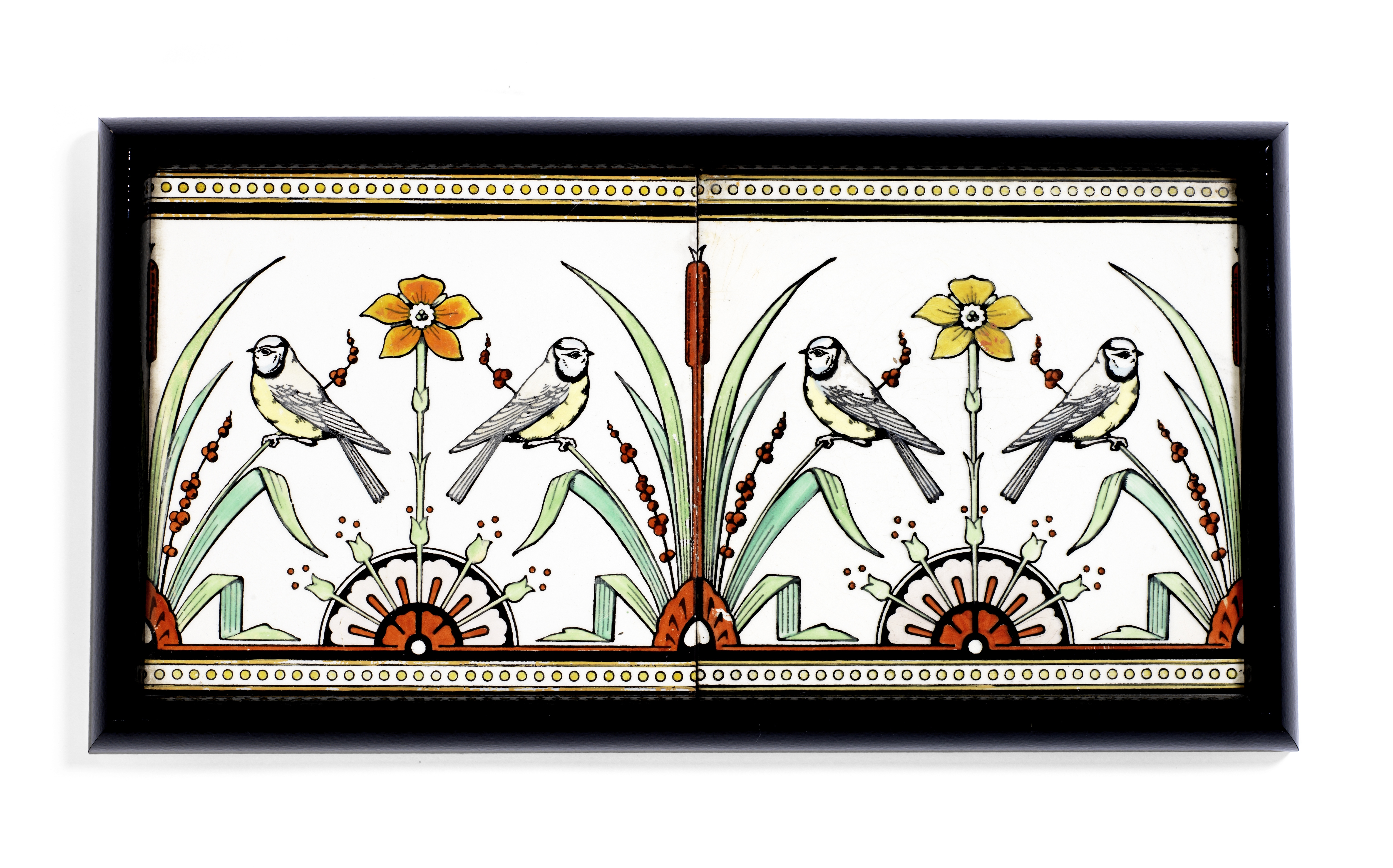 Lot 100 - Christopher Dresser (British, 1834-1904) for Mintons China Works Two Framed Ceramic Tiles, circa ...