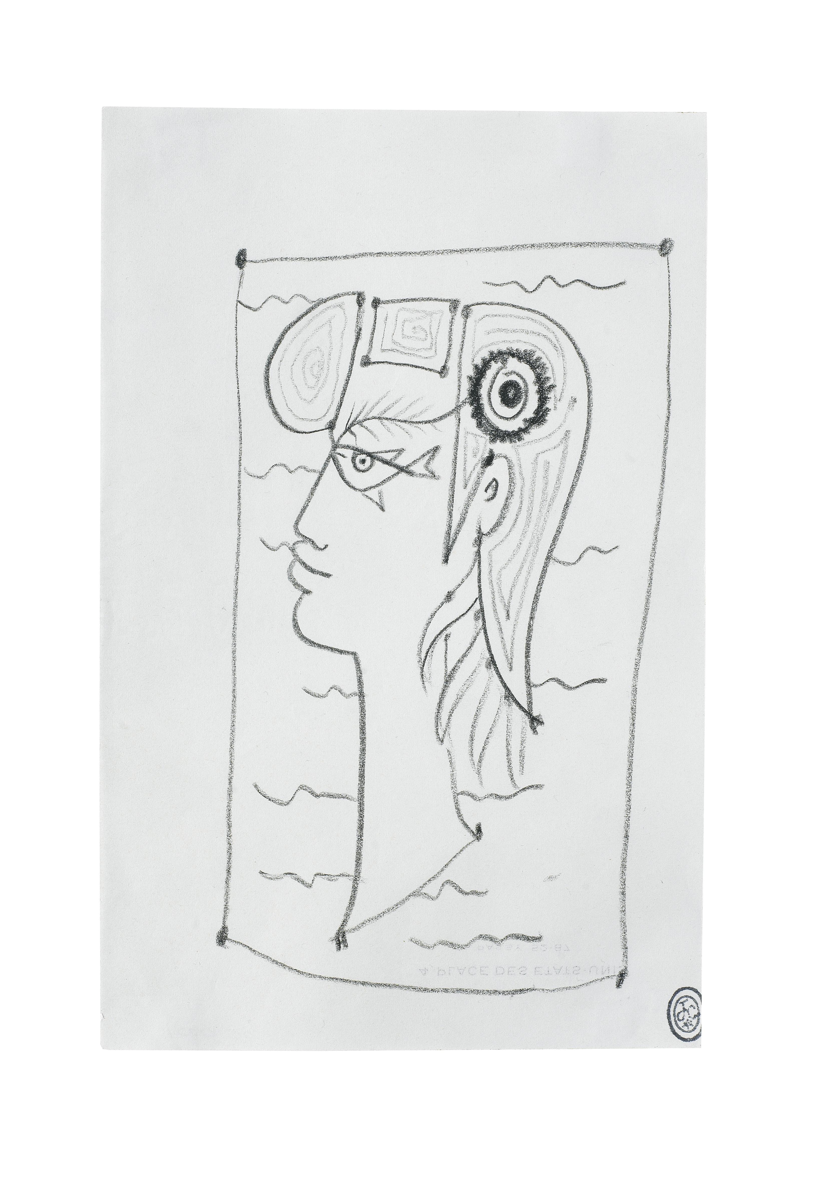 Lot 23 - Jean Cocteau (1889-1963) Tête de femme