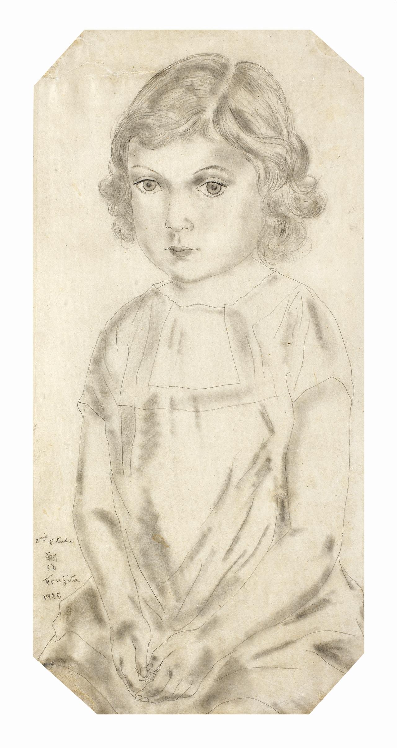Lot 9 - Léonard Tsuguharu Foujita (1886-1968) Portrait de fillette (Philomène), 1925