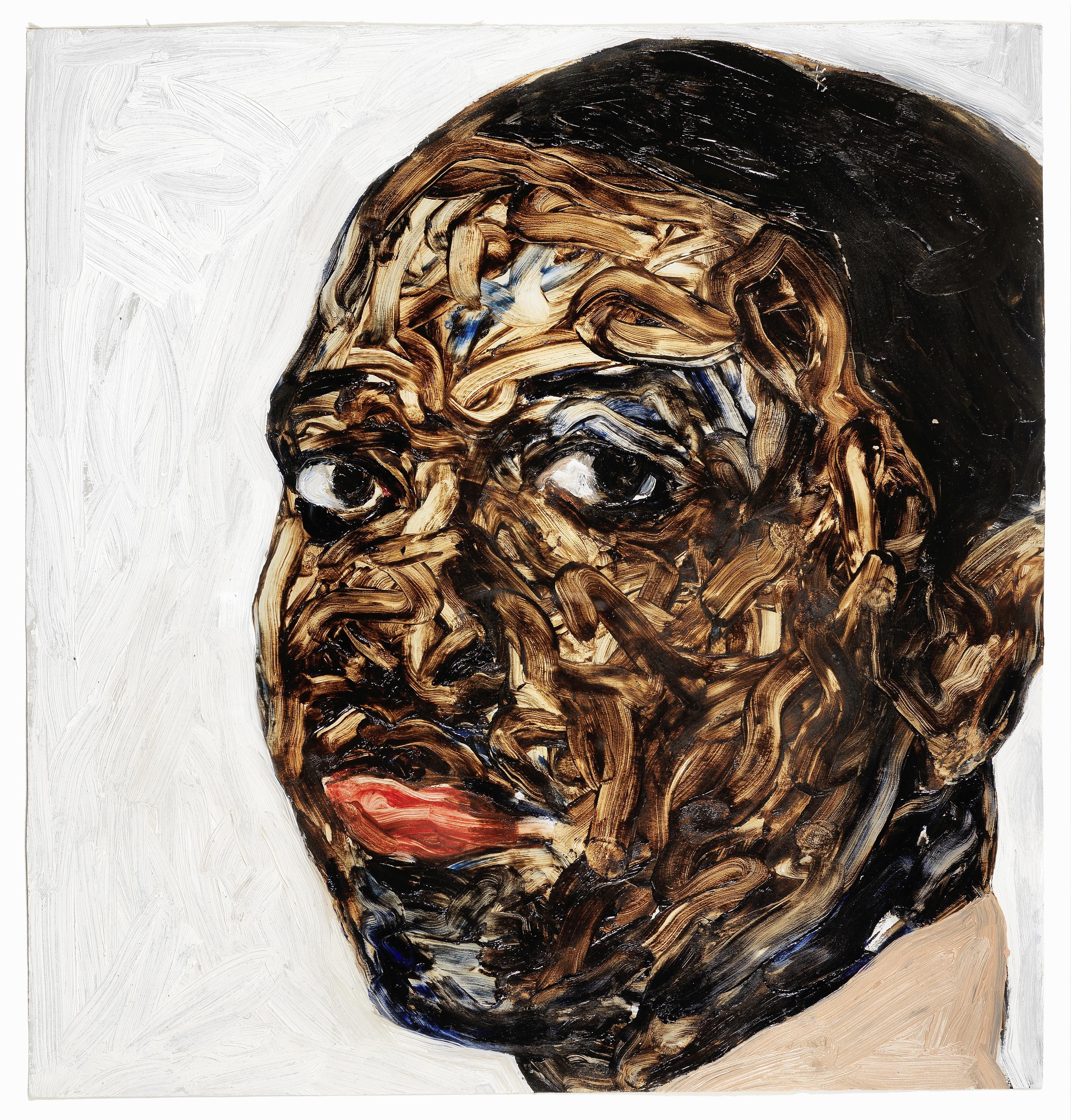 Lot 2 - Amoako Boafo (B. 1984) Portrait of a young man, 2018