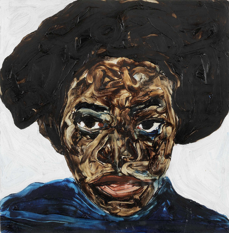 Lot 1 - Amoako Boafo (B. 1984) Portrait of a young lady, 2018