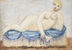 Duncan Grant (British, 1885-1978) Reclining Nude with Fan 57.2 x 77 cm. (22 1/2 x 30 1/4 in.)
