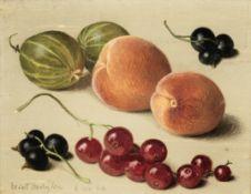 Eliot Hodgkin (British, 1905-1987) Apricots, Gooseberries and Currants 8.5 x 11 cm. (3 1/4 x 4 1/...
