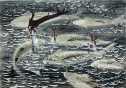 John Tunnard A.R.A. (British, 1900-1971) Shoal of Fish 38 x 55.5 cm. (15 x 21 3/4 in.)