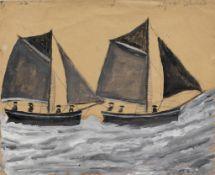 Alfred Wallis (British, 1855-1942) Fishing boats 24.3 x 30 cm. (9 1/2 x 11 7/8 in.)