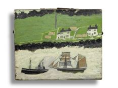 Alfred Wallis (British, 1855-1942) A Steamship and a Schooner Passing the Coast (recto); A Path T...