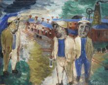 Julian Trevelyan R.A. (British, 1910-1988) The Miners 31.3 x 40.8 cm. (12 3/8 x 16 in.)