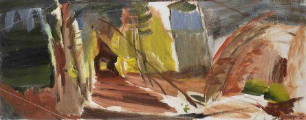Ivon Hitchens (British, 1893-1979) Autumn Larchwood 43.3 x 109.8 cm. (17 x 43 1/4 in.) (Painted c...