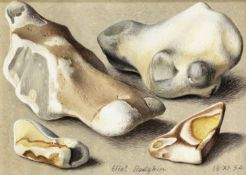 Eliot Hodgkin (British, 1905-1987) Four Flints 10.5 x 14 cm. (4 1/4 x 5 1/2 in.)