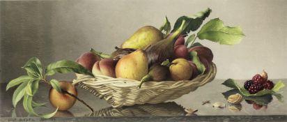 Eliot Hodgkin (British, 1905-1987) Basket of Fruit 22 x 50 cm. (8 3/4 x 19 3/4 in.)