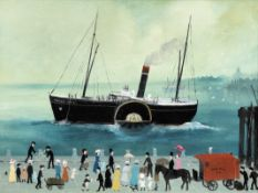 Helen Bradley (British, 1900-1979) Waiting at Liverpool to go to the Isle of Man 45.8 x 61 cm. (1...