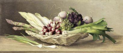 Eliot Hodgkin (British, 1905-1987) Basket of Vegetables 22 x 50 cm. (8 3/4 x 19 3/4 in.)