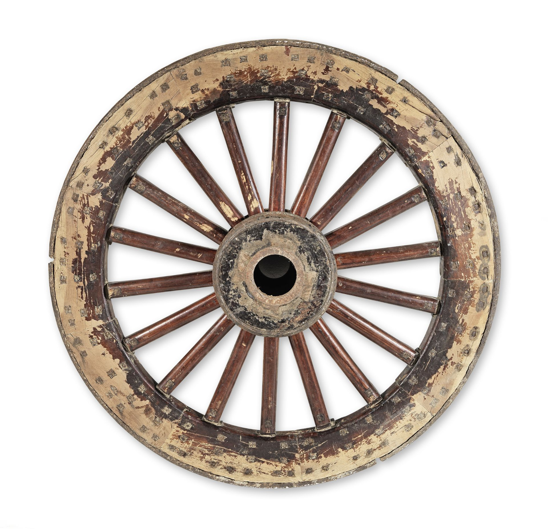 Los 216 - A Chinese carved and turned hardwood and iron bound ceremonial carriage wheel