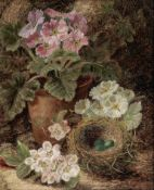 Oliver Clare (British, 1853-1927) Still life of flowers and a bird's nest; Still life of fruit ea...