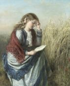 English School, 19th century A girl reading in a cornfield