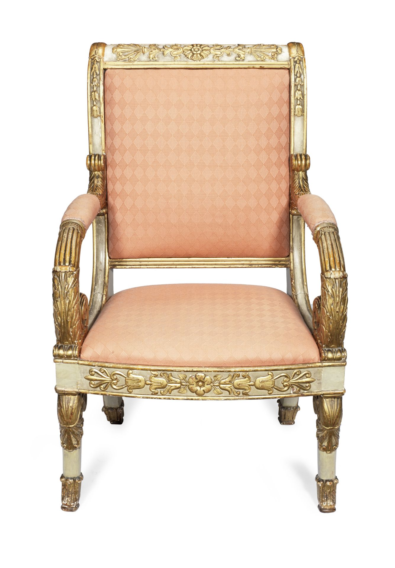 Los 48 - An Empire painted and parcel gilt fauteuil