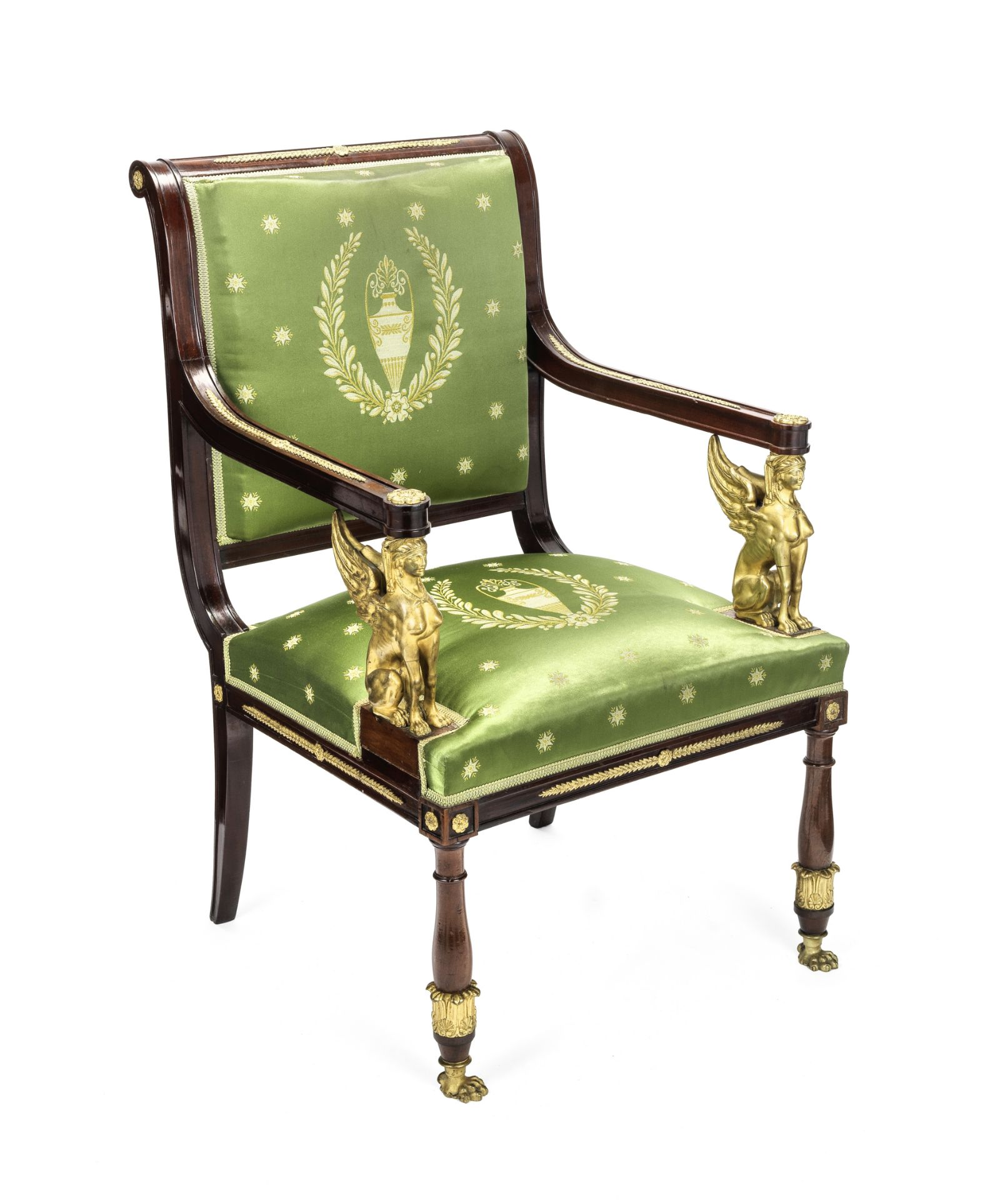 Los 49 - A French 19th century Empire revival gilt bronze mounted fauteuil