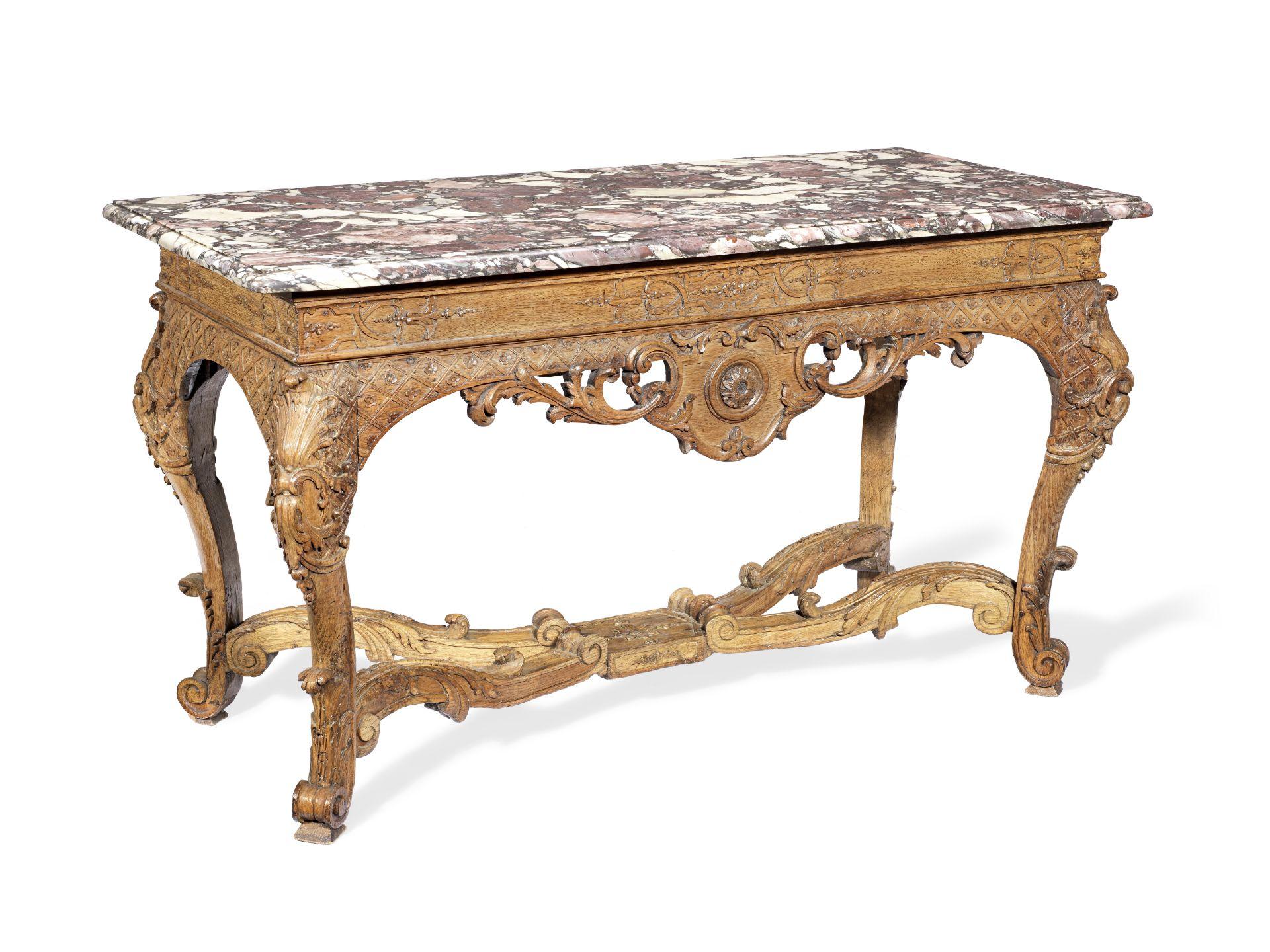 Los 113 - A Regence carved oak table a gibier