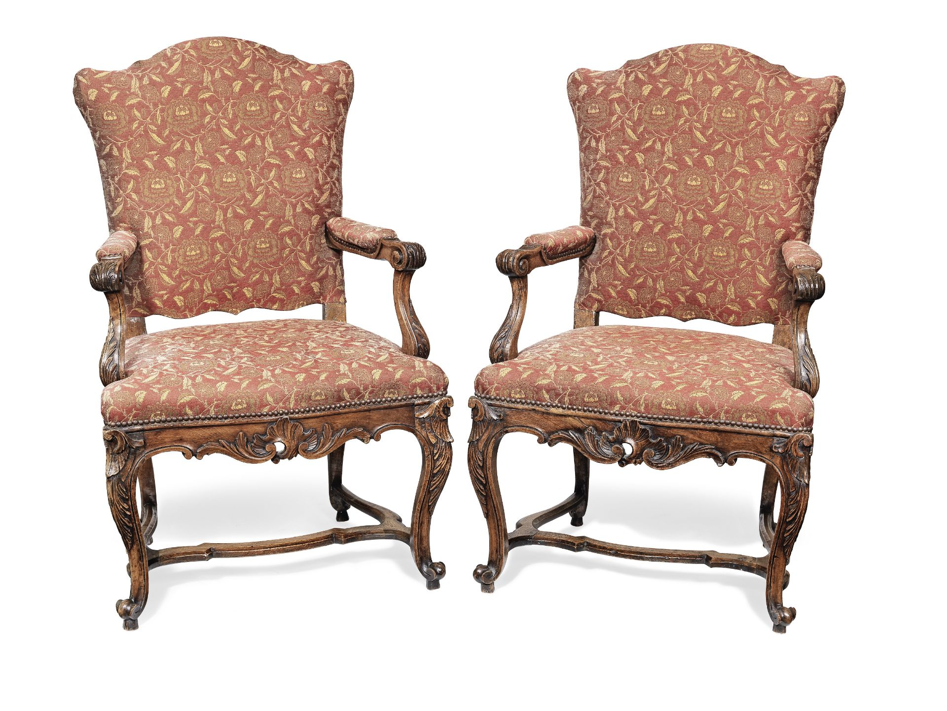Los 110 - A pair of French 19th century walnut fauteuils in the early Louis XV style (2)