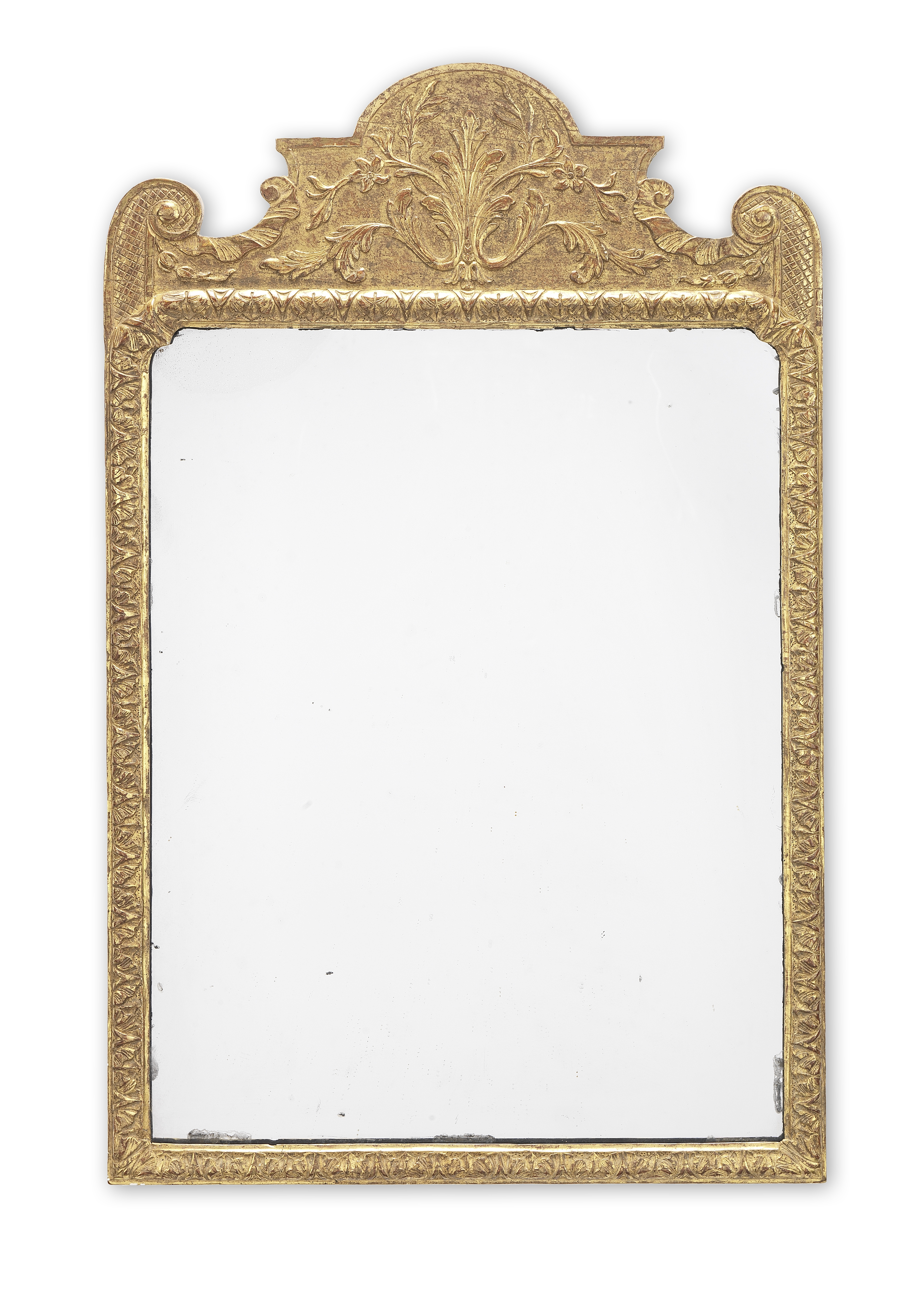 Lot 117 - A George I gilt gesso mirror of small proportions
