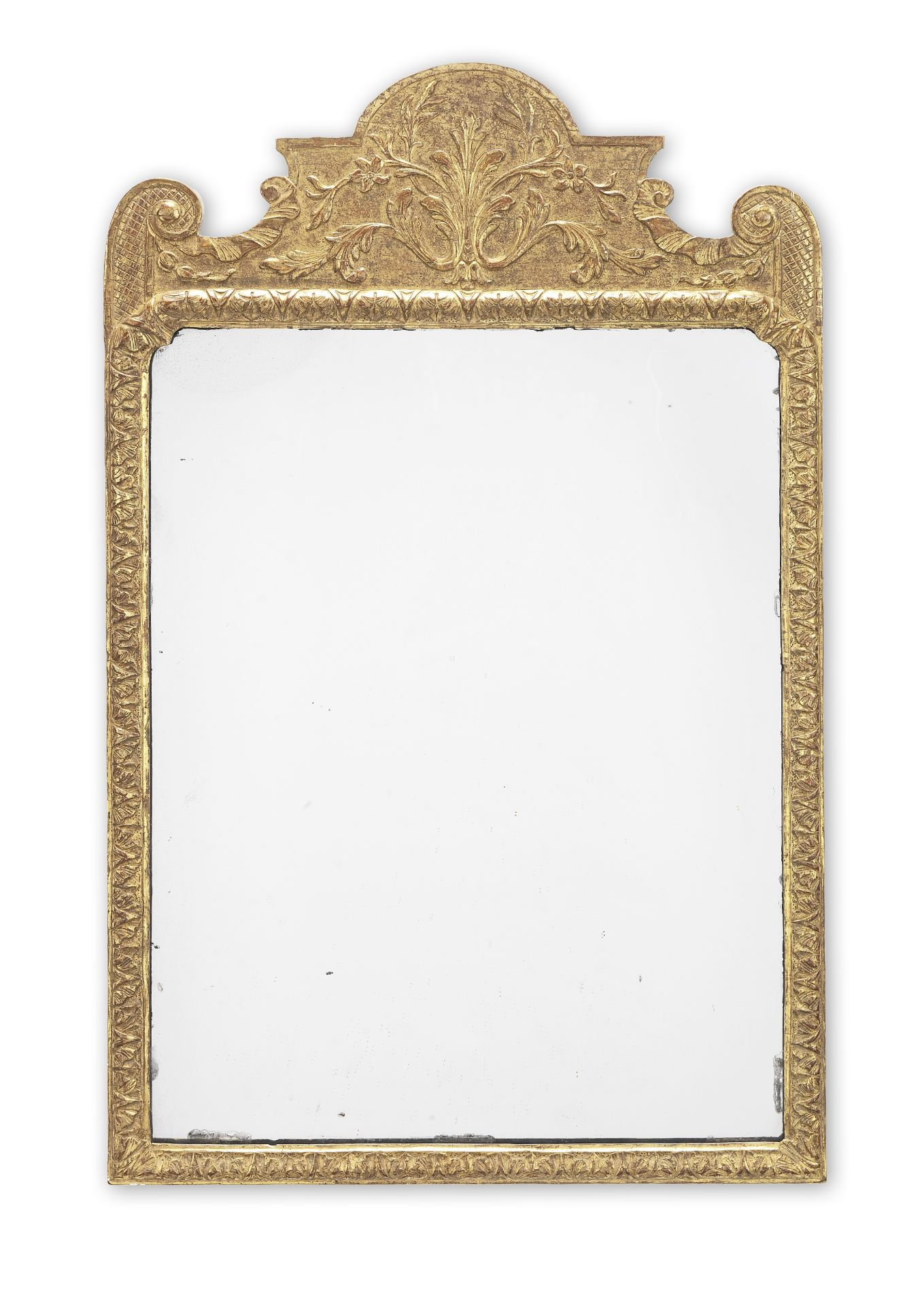 Los 117 - A George I gilt gesso mirror of small proportions