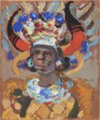 Emmanuel Mané-Katz (Ukrainian/French, 1894-1962) Portrait of a South African rickshaw boy