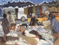 Charles McCall (British, 1907-1989) French Market Scene - Deauville