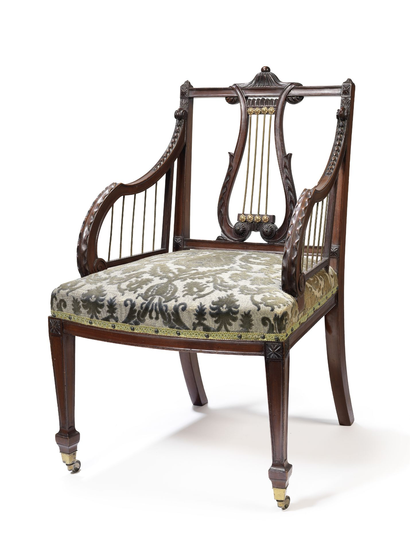 Los 77 - A late Victorian brass mounted mahogany open armchair possibly by Gillows, after a design by John...