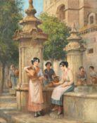 Arthur Trevor Haddon (British, 1864-1941) Venetian flower and fruit market; Meeting at the founta...