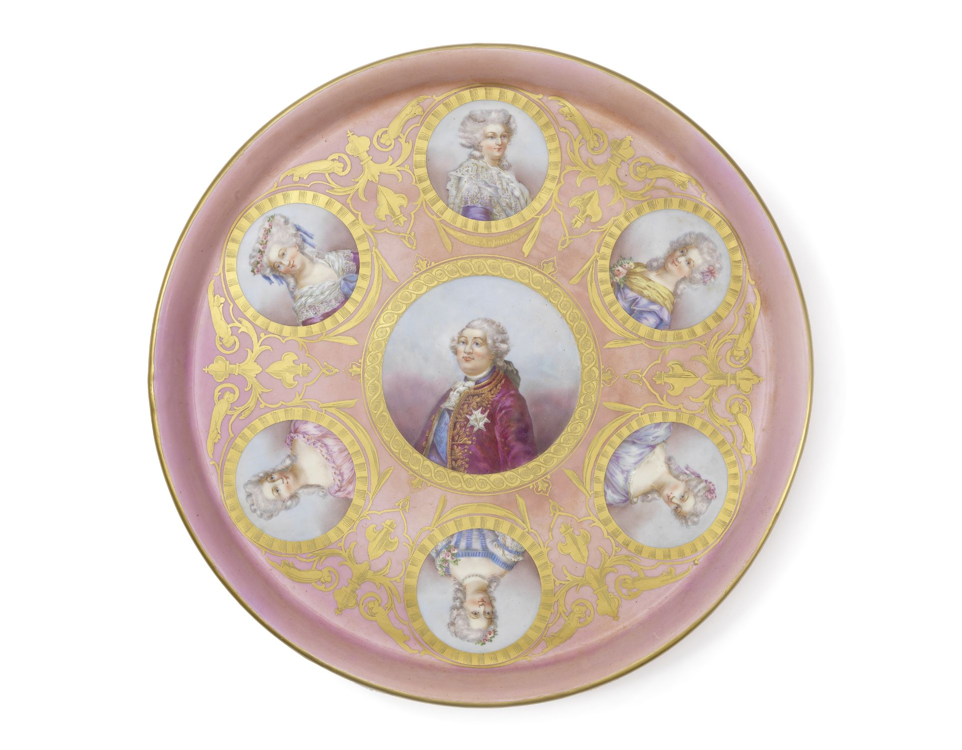 Los 130 - A French late 19th century Sevres style porcelain cabaret tray