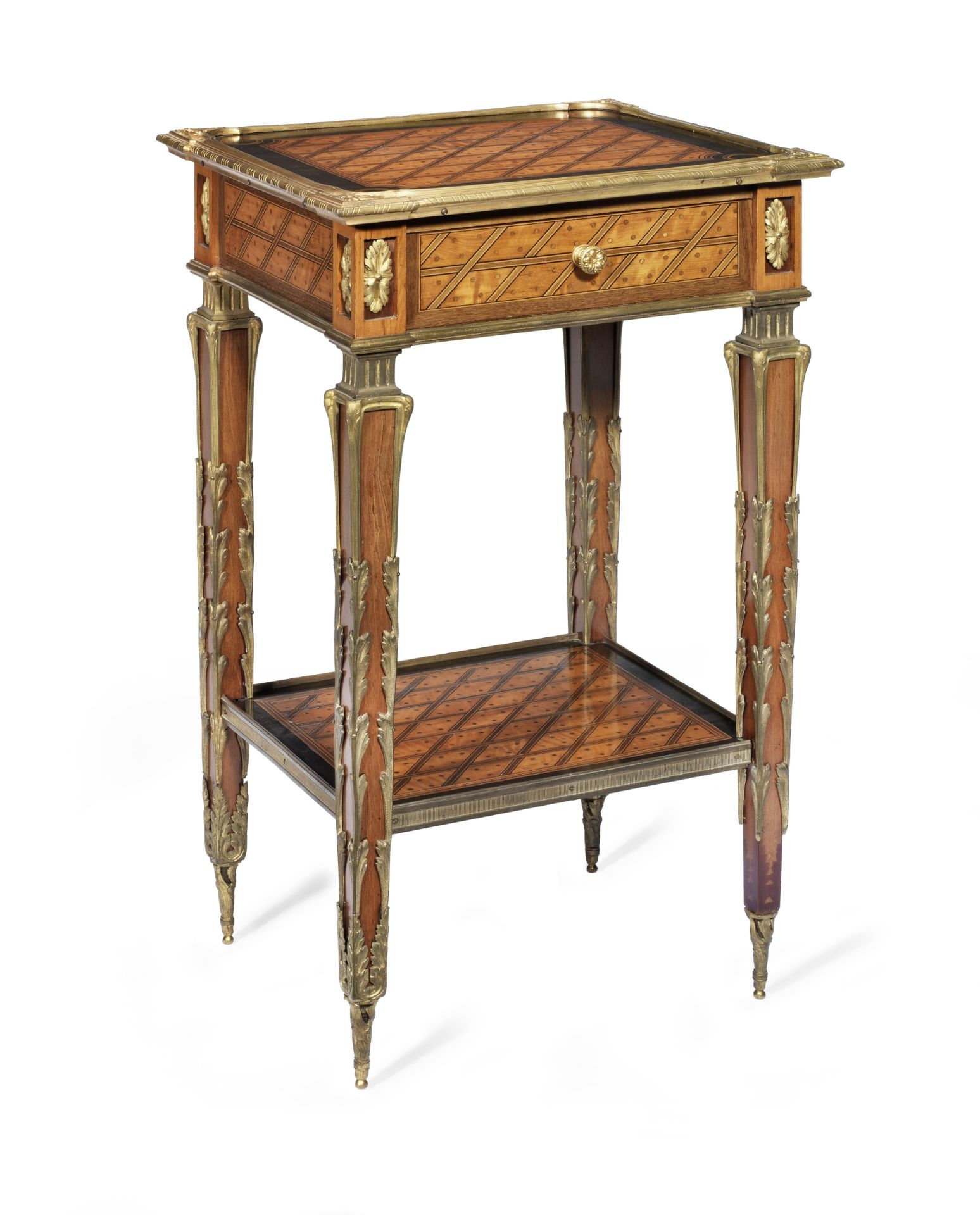 Los 74 - A mid Victorian gilt bronze mounted satinwood, purplewood and parquetry occasional table attribut...